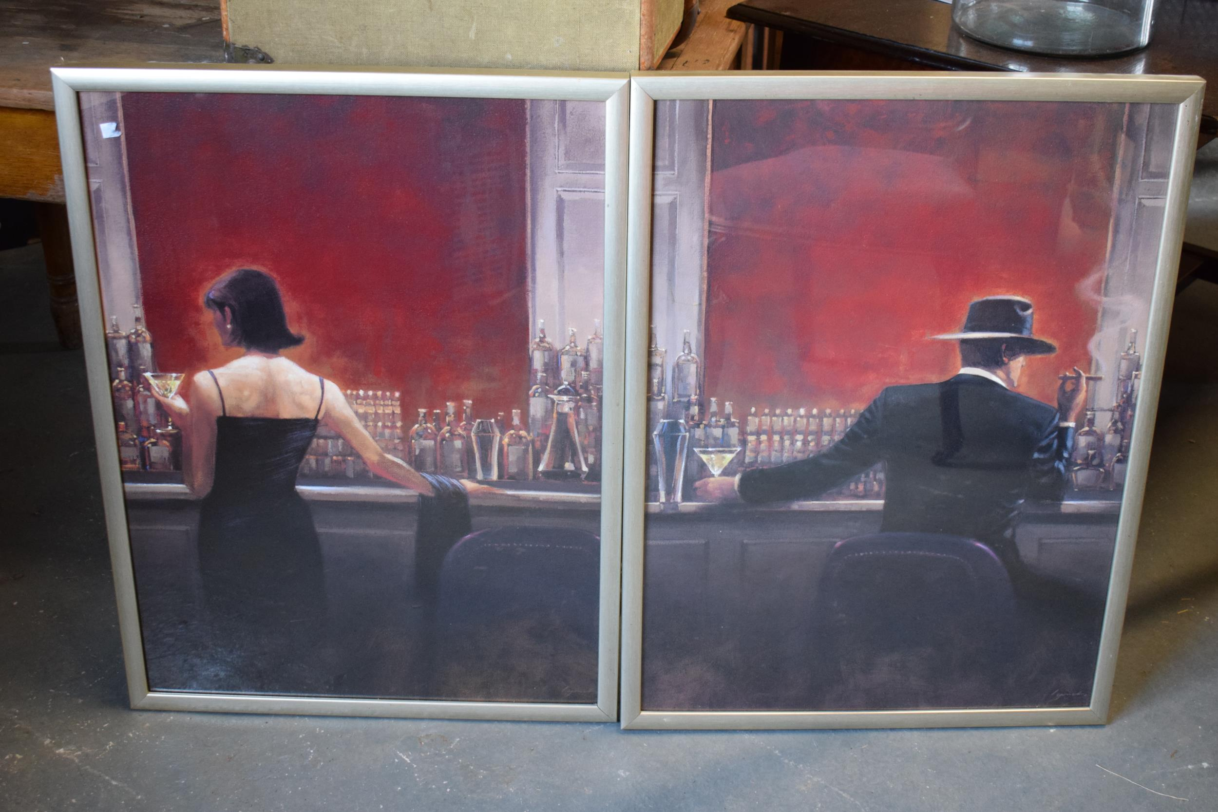 A pair of large contemporary prints 'Evening Lounge' and 'Cigar Bar' by Brent Lynch in wooden