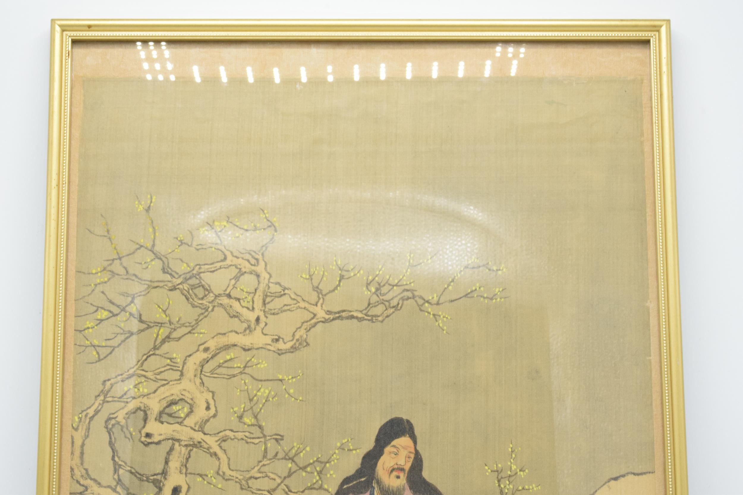 Meiji Japanese woodblock print depicting snowy mountain scene with man and young girl in front of - Image 4 of 6