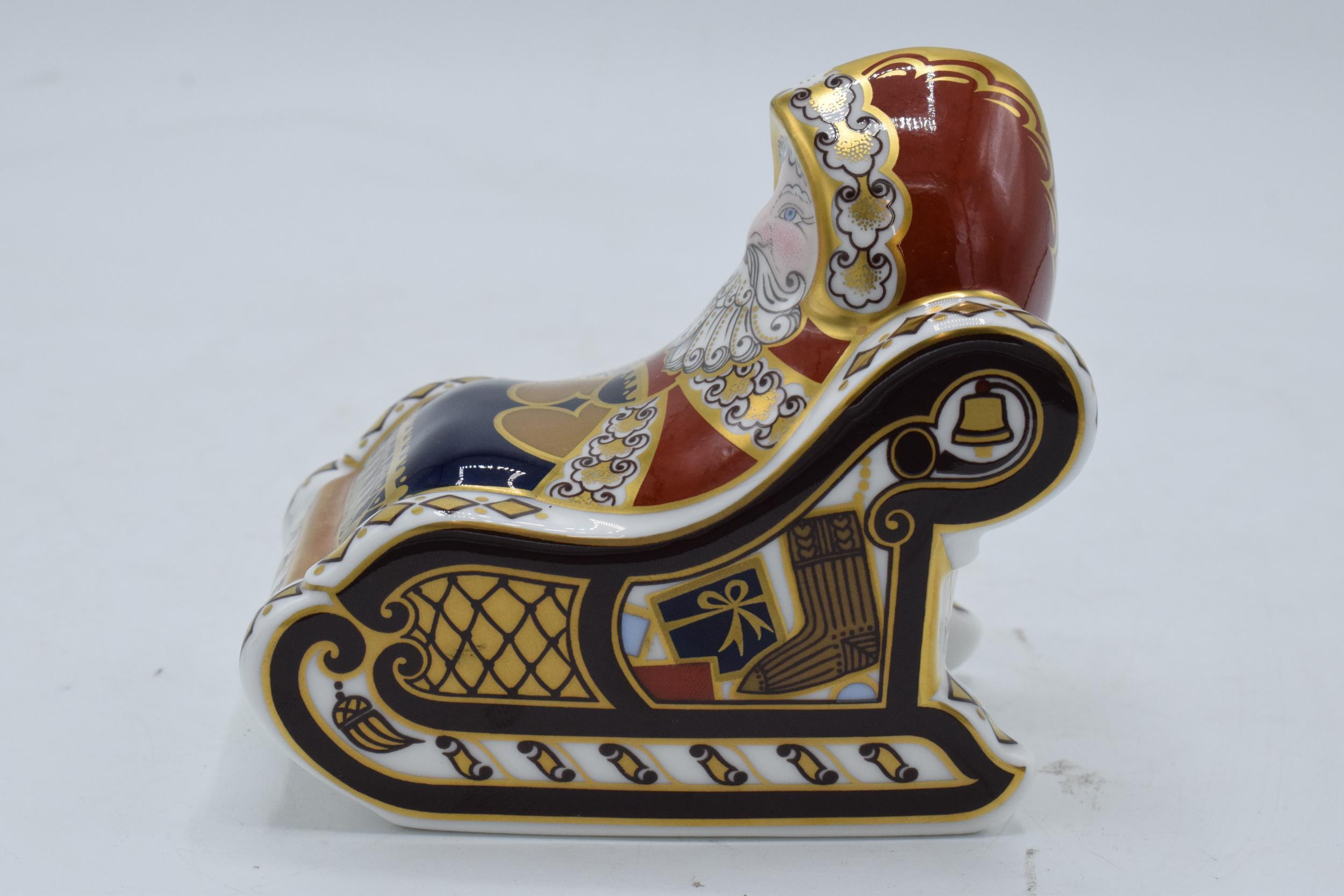 Boxed Royal Crown Derby paperweight in the form of a Santa and his Sleigh. First quality with - Image 2 of 5