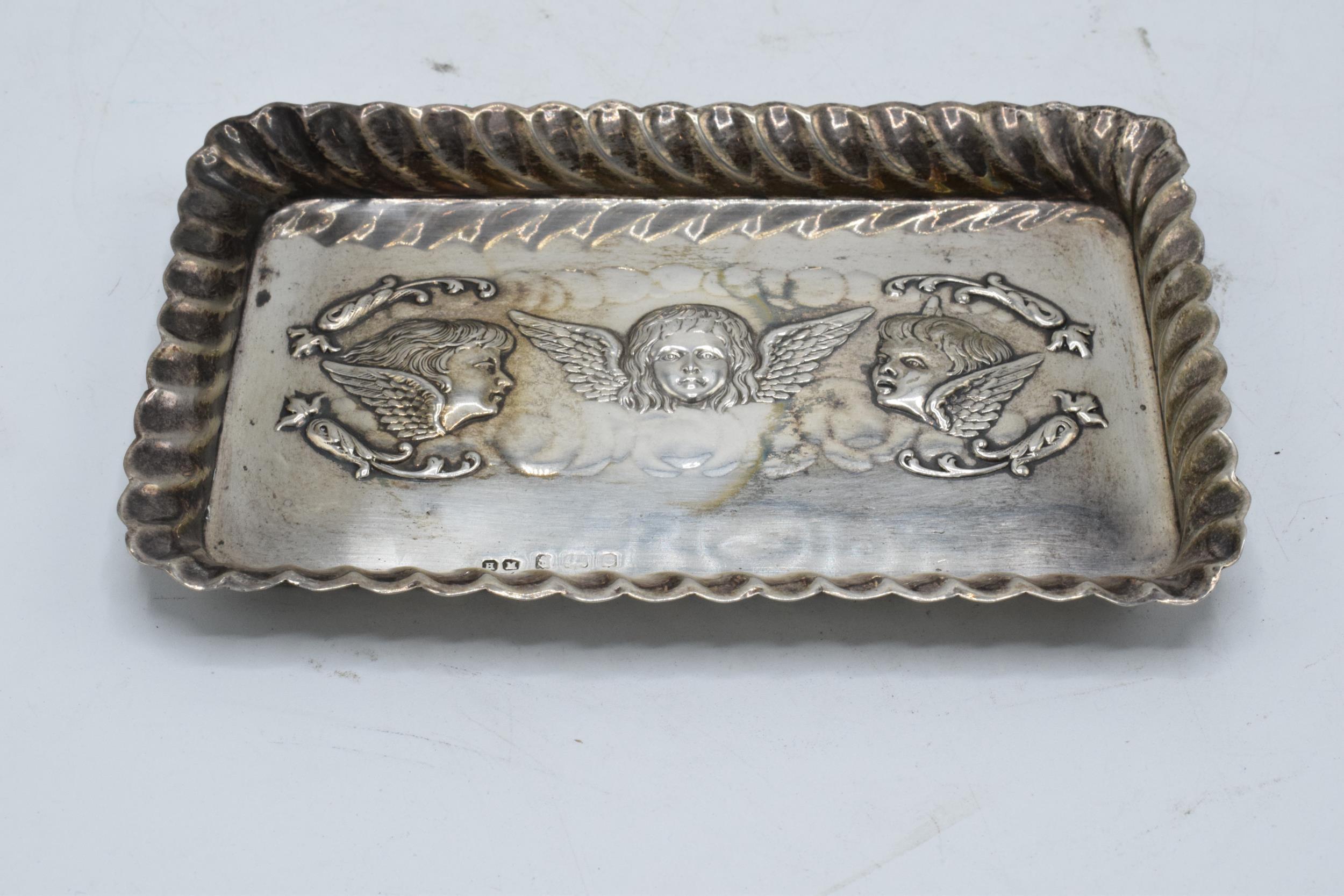 Silver Reynold's Angels rectangular tray. 57.1 grams. Birmingham 1904. Hallmarks slightly rubbed.