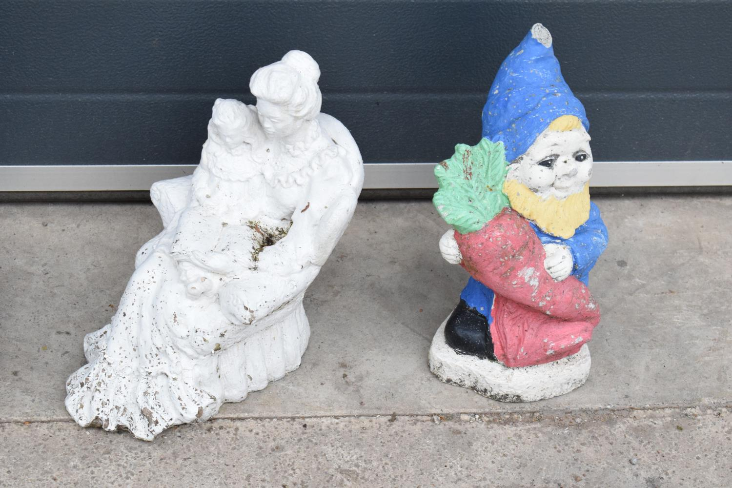 A collection of vintage garden ornaments to include a garden gnome, a figure of a couple and one - Image 3 of 3