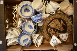 A mixed collection of items to include a brass trivet, pewter tray and 19th and 20th century tea