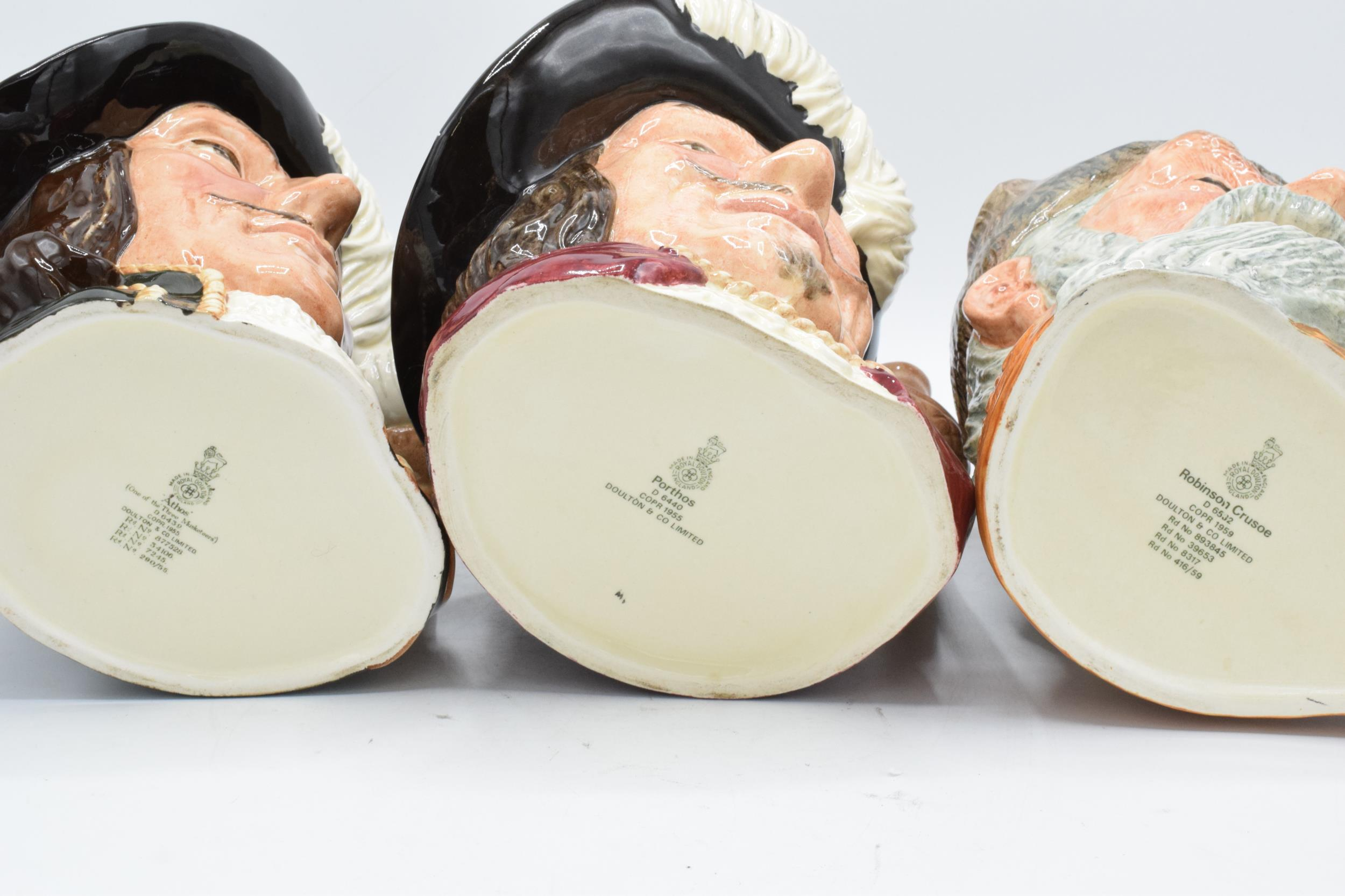 Large Royal Doulton character jugs to include Robinson Crusoe D6532, Porthos D6440 and Athos - Image 3 of 3
