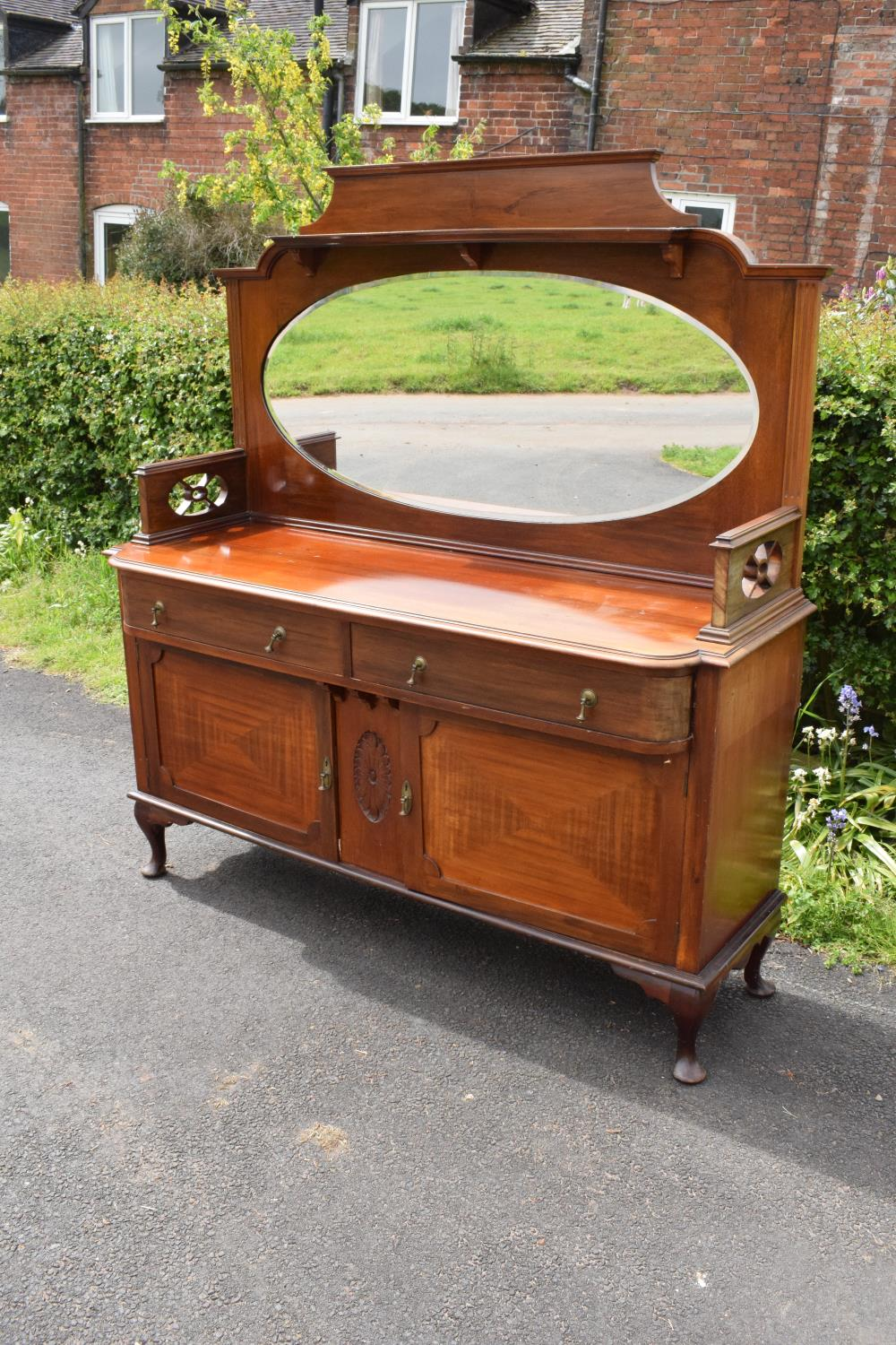 Edwardian mirror backed sideboard/ drinks cabinet. 168 x 56 x 183cm. The top section lifts off and
