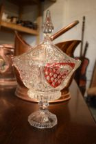 A 20th century Bohemia glass lidded vase with red decoration. In good condition with no obvious