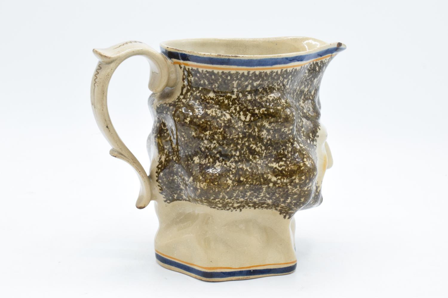 19th century Pratt Ware unusal face mask/ character jug. Generally in good condition for it's age - Image 3 of 6