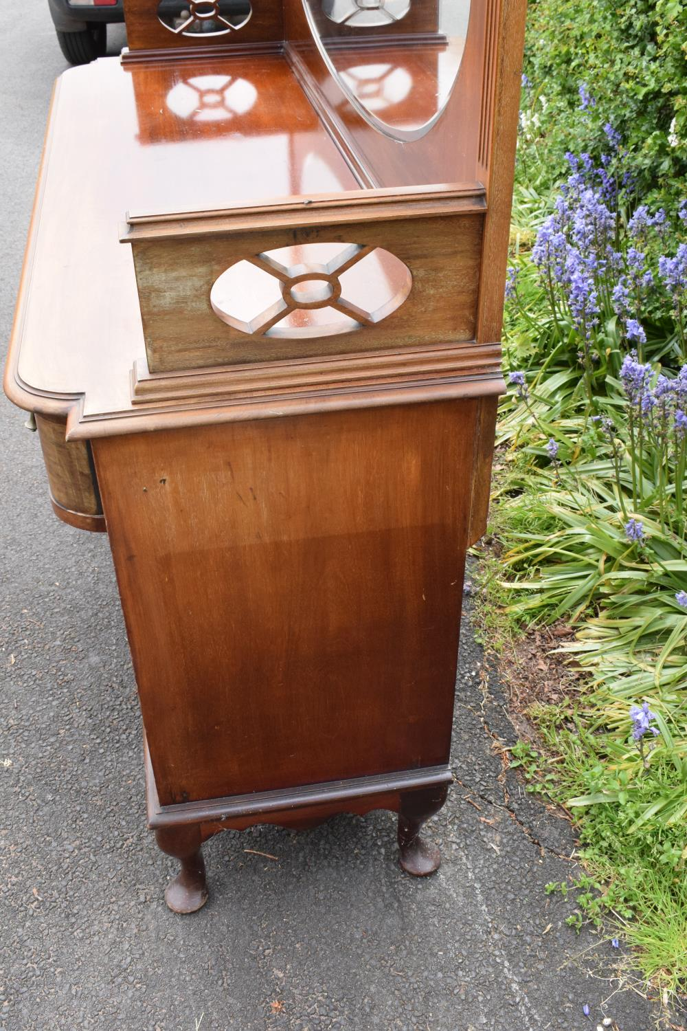 Edwardian mirror backed sideboard/ drinks cabinet. 168 x 56 x 183cm. The top section lifts off and - Image 10 of 11