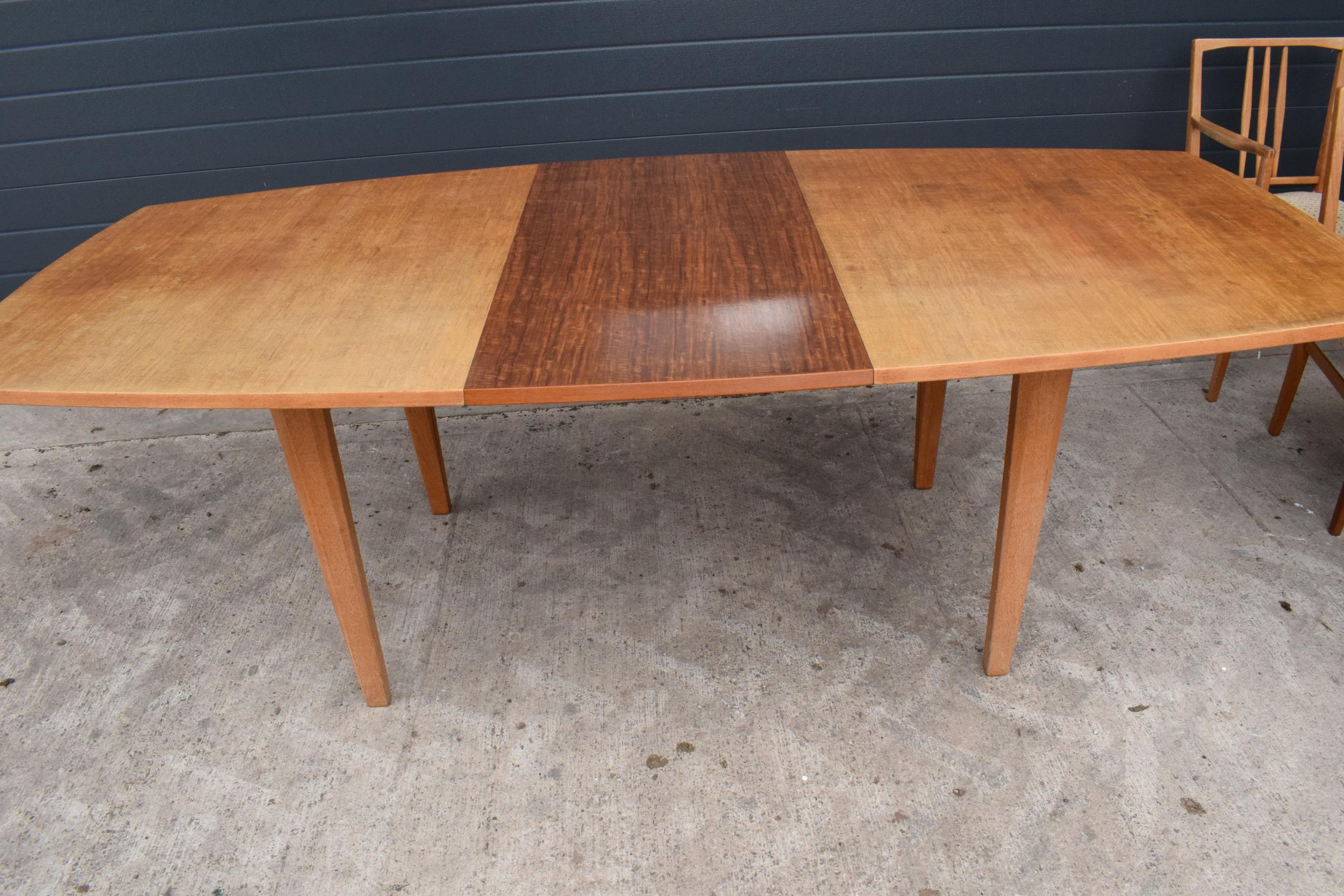 A mid century / retro Gordon Russell extending shaped rectangular dining table together with 6 - Image 9 of 11