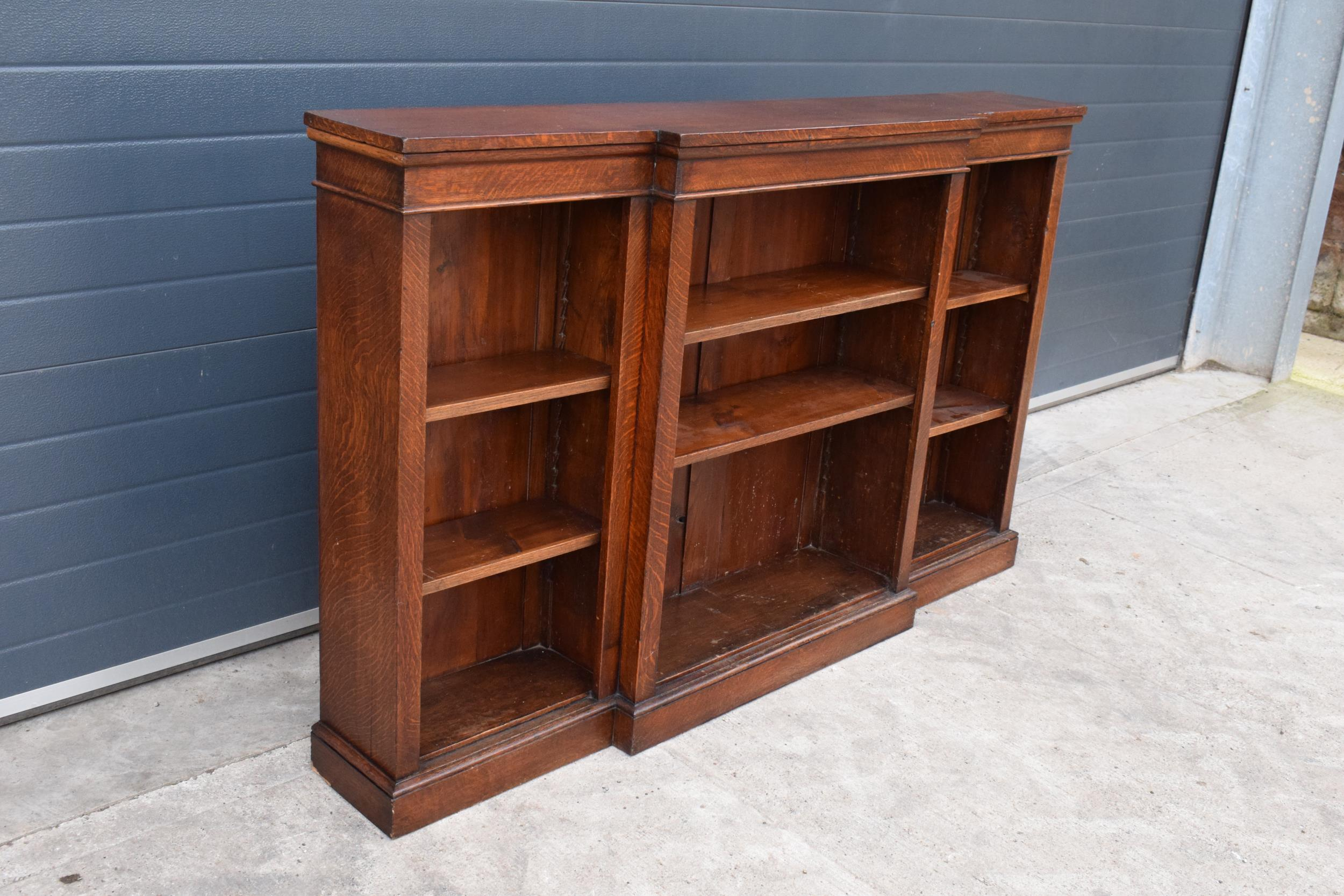 Edwardian breakfront bookcase with 3 sections and 6 adjustable shelves. 182 x 30 x 112cm. In good - Image 2 of 7