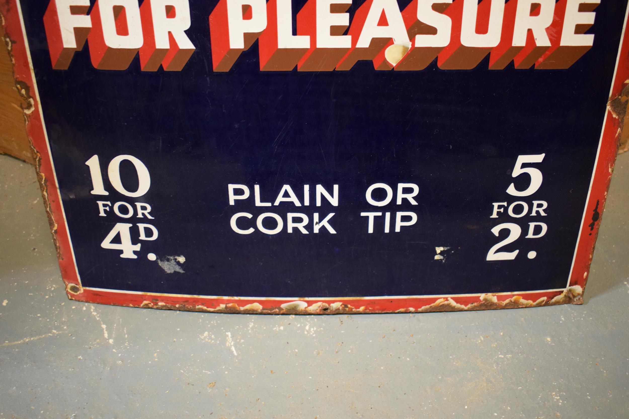 An original vintage enamel sign 'Park Drive For Pleasure, 10 for 4D, Plain or Cork Tip, 5 for 2D'. - Image 4 of 6