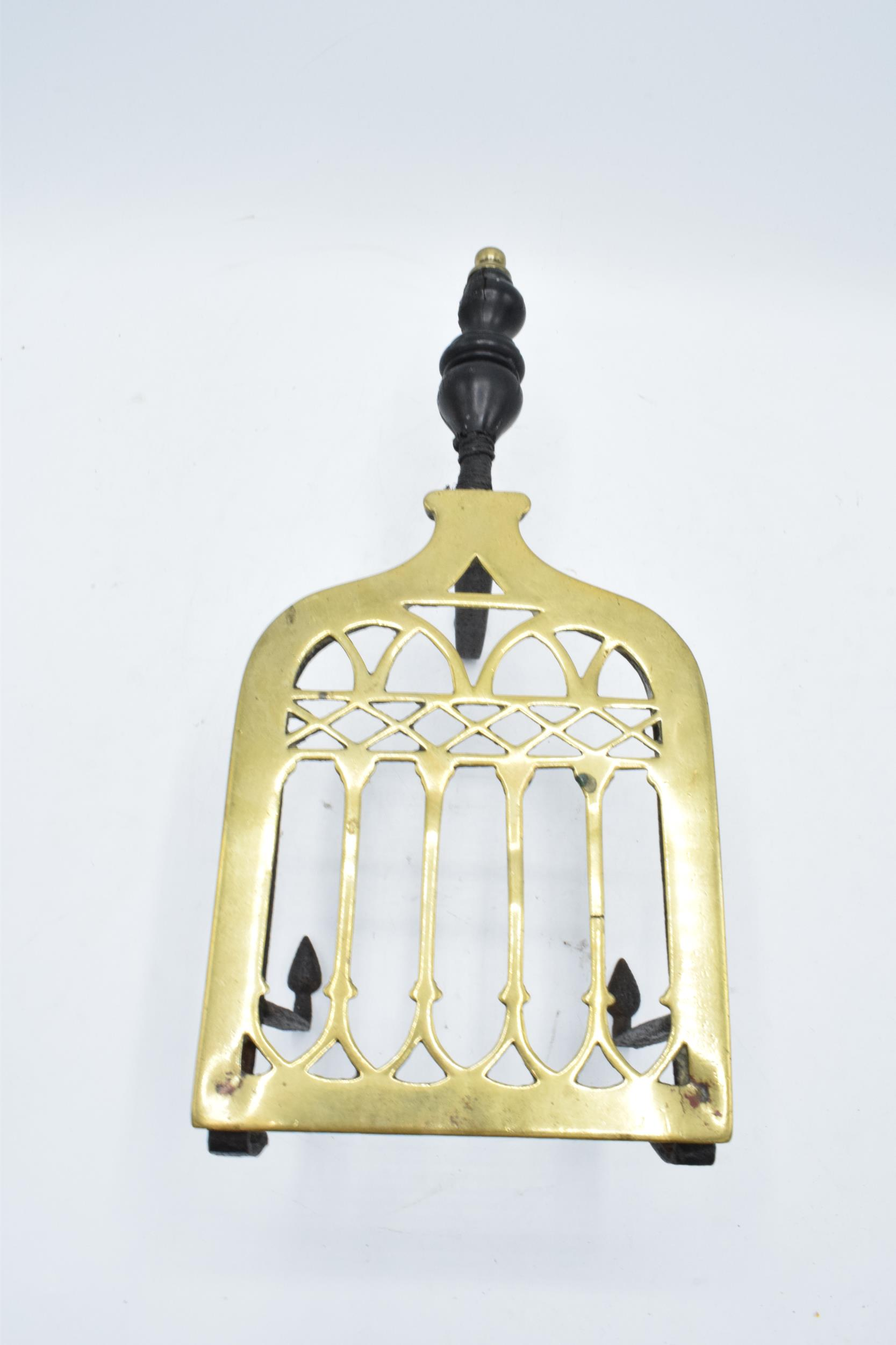 Victorian brass and iron trivet with wooden handle (some chipping to wood). - Image 3 of 6