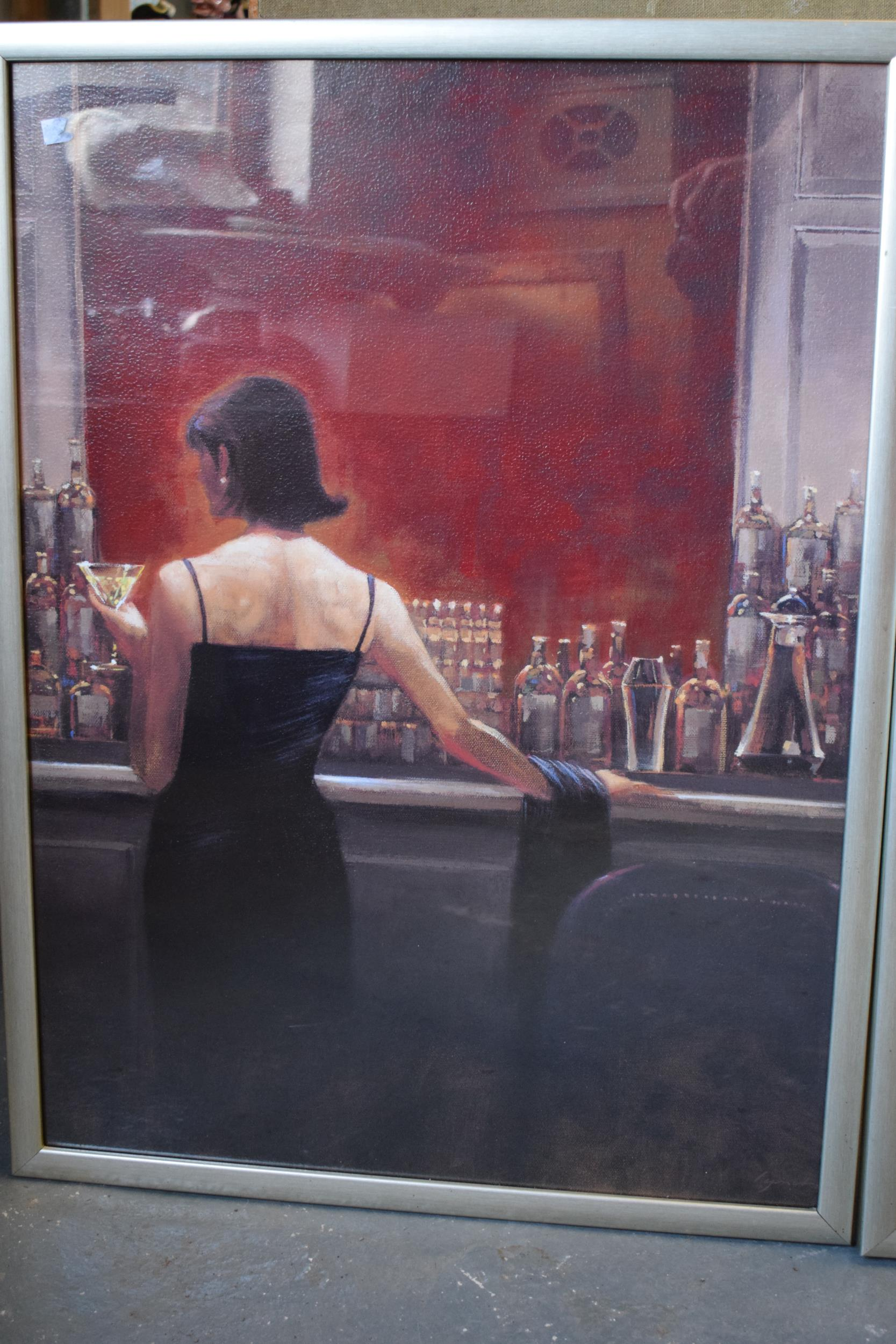 A pair of large contemporary prints 'Evening Lounge' and 'Cigar Bar' by Brent Lynch in wooden - Image 3 of 5