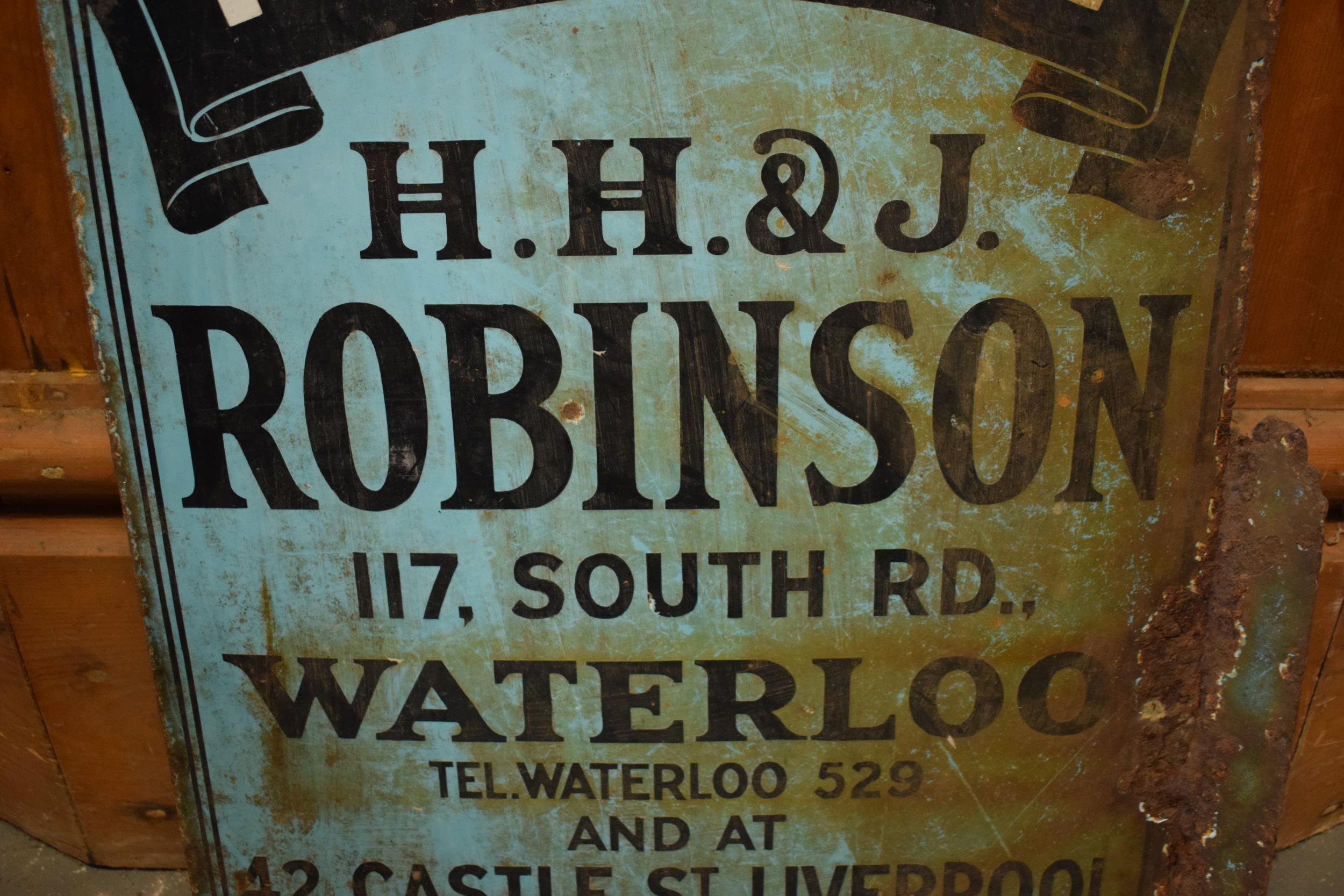 An original vintage double-sided enamel advertising sign for an H H and J Robinson estate agents. ' - Image 3 of 9