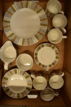 A collection of Midwinter retro mid-century tea ware to include 6 cups, 6 saucers, 6 sides, 2 plates