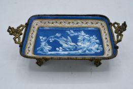 A French 19th century Hautin & Boulanger (Medaille D'or Choisy Le Roi) pottery dish set in a gilt