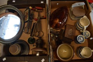 A mixed collection of items to include vintage kitchenalia, late Victorian storage jar, Cornwish