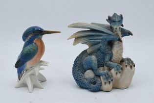 A Karl Ens figure of a Kingfisher together with a Lilliput Lane 'Land of Legend' figure The Ice