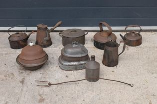 A mixed collection of metalware to include scales, tea pots, bowls, pouring vessels etc (no postage)