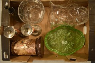 A mixed collection of items to include a pair of candlesticks, Bretby pottery vase, green glass