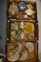 A good collection of ceramics to include wall plates depicting local interest such as Rudyard Lake