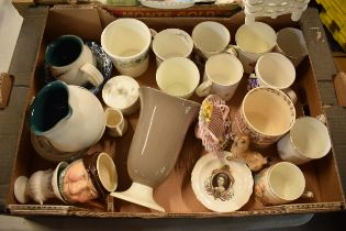 A mixed collection of items to include Wedgwood, 19th century pottery, coronation mugs, a floral
