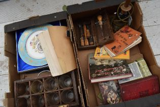 A mixed collection of items to include a lampbase, glasses, Aynsley plate, books, tools etc. NO
