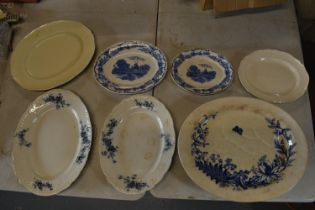 A collection of 19th/20th century meat trays and platters to include Delph Grimwade, Booths, T B & S