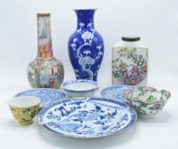 A collection of oriental pottery to include a Cantonese 19th century vase, Chinese blue & white