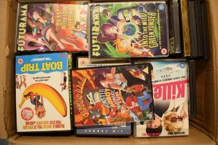 A large collection of DVDs and related items to include Futurama box sets, Bruce Almighty, Boat Trip