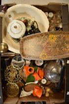 A mixed collection of items to include a pair of 8x binoculars, teapots, brass trivets etc (no