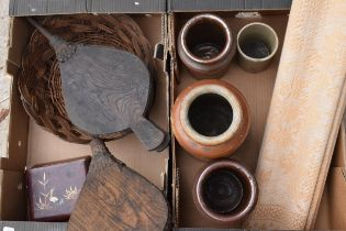 A mixed collection of items to include Victorian stoneware kitchen jars, wooden bellows, a basket, a