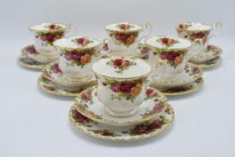 A collection of Royal Albert Old Country Roses items to include 6 trios (missing 2 saucers)(16