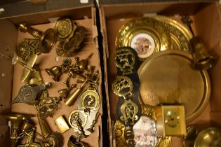 A good collection of brass and metalware to include figures, plates, bells, candlesticks etc NO