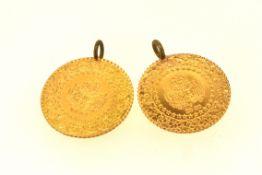 2 türkische Münzen mit Metall-Ösen, 3,6 Gramm
