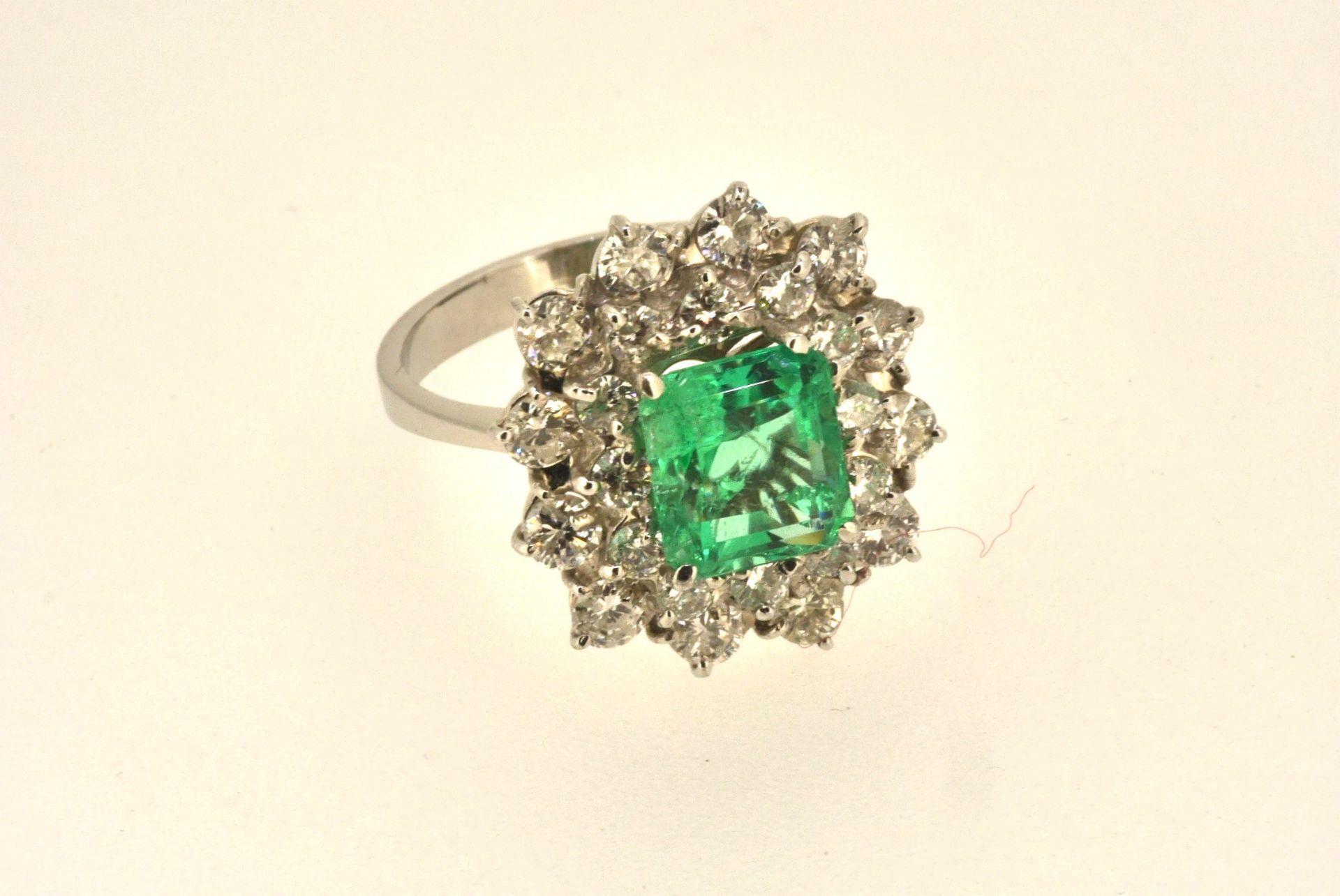 Ring WG 750, Smaragd, Brillanten ca. 2.00 ct, 5,73 Gramm