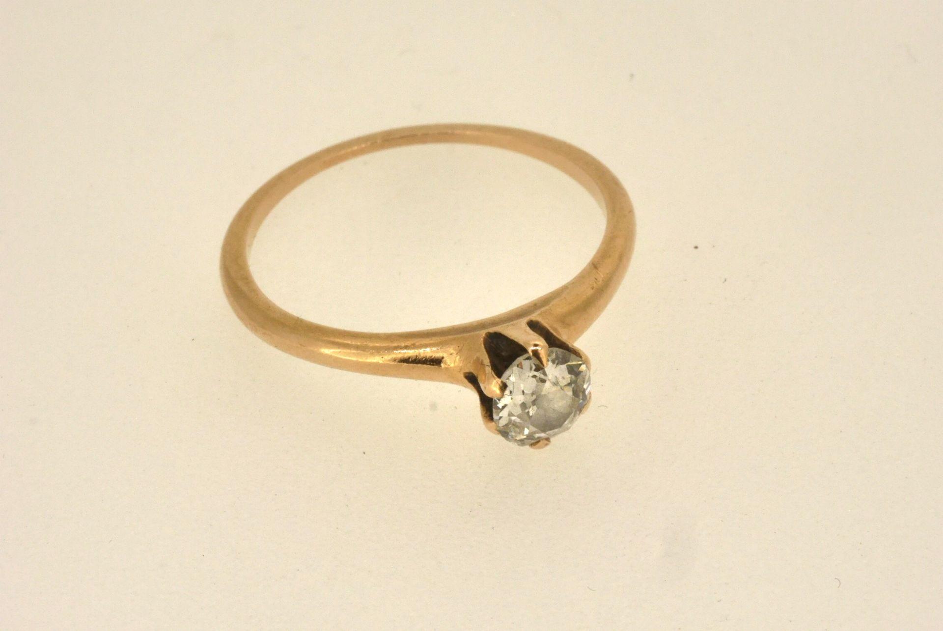 Ring GG 585, Altschliff-Diamant-Solitär ca. 0.45 ct