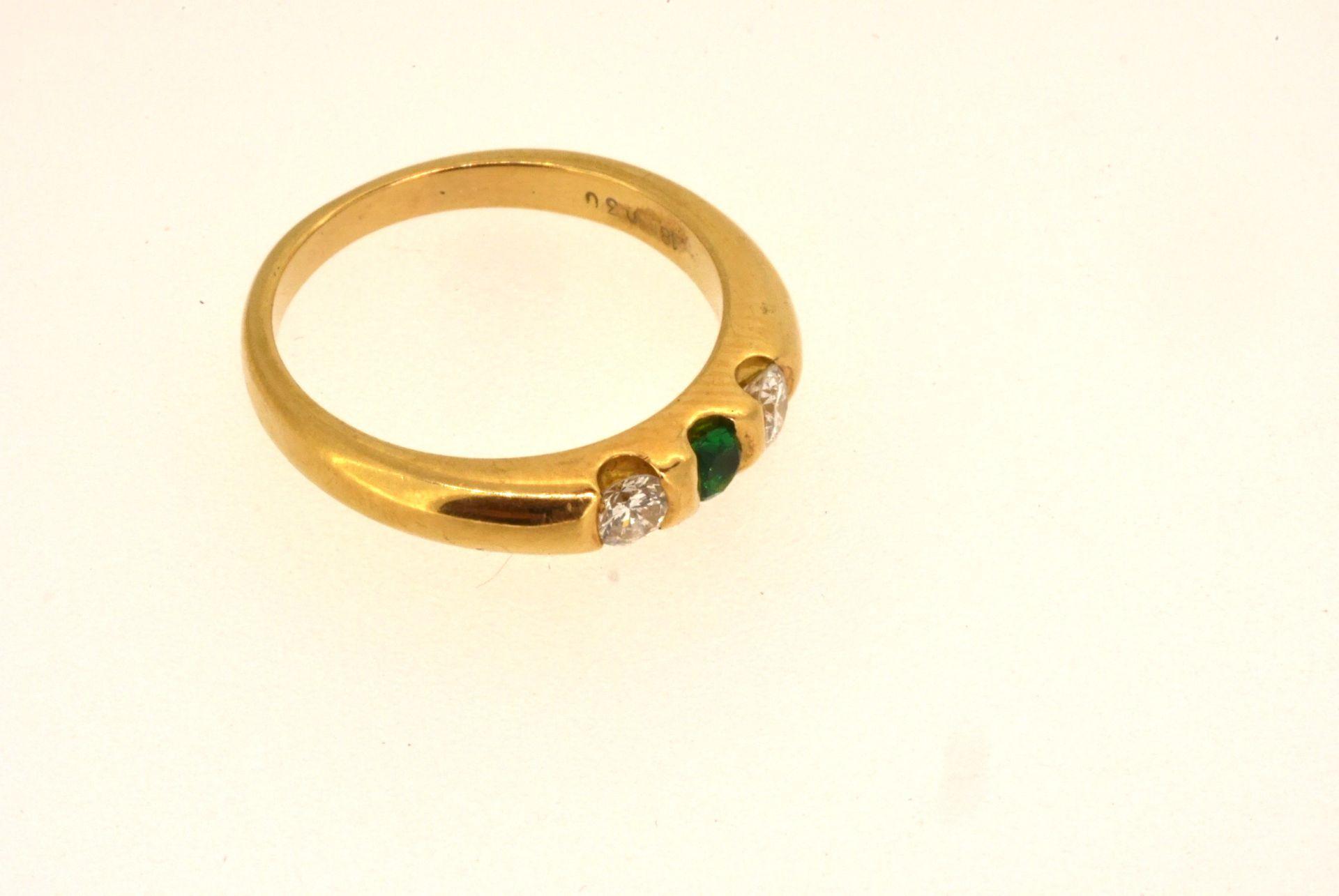Ring GG 750, Diamanten 0,30 ct, Smaragd, 5,26 Gramm
