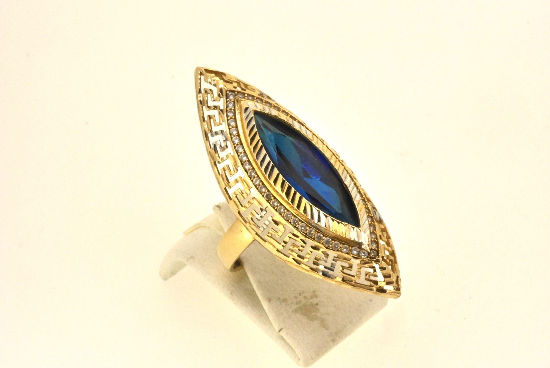 Ring WG/GG 585, blauer Stein, 6,8 Gramm