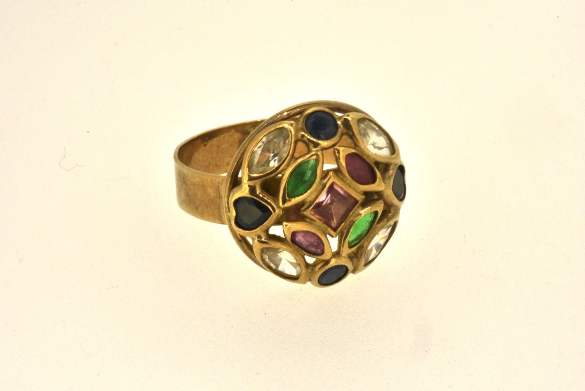 Ring GG 333, verschiedene farbige Steine, 3,35 Gramm