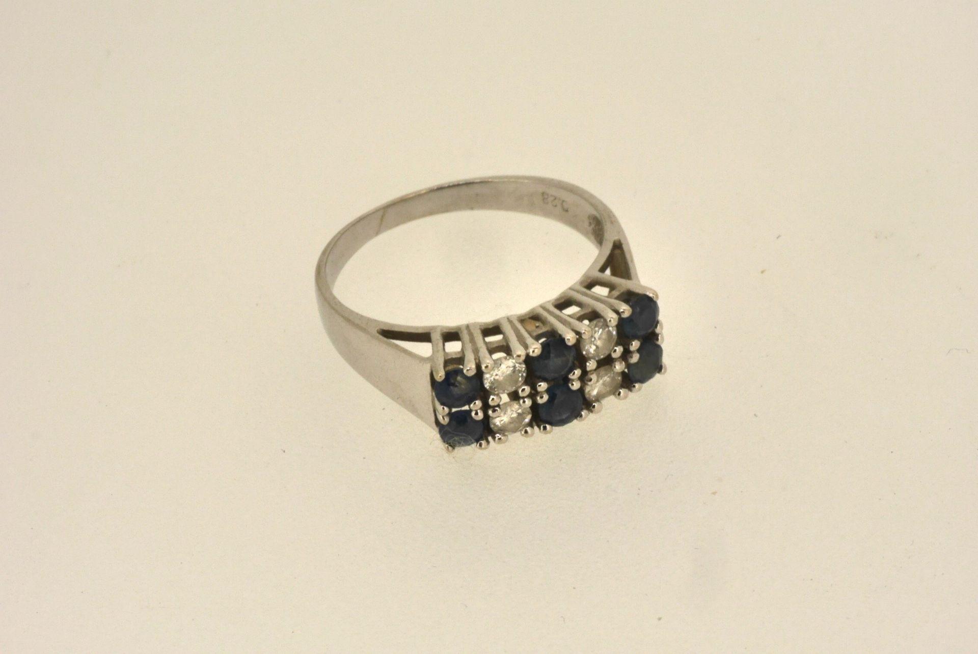 Ring WG 585, Diamanten ca. 0.28 ct, Saphire, 2,98 Gramm