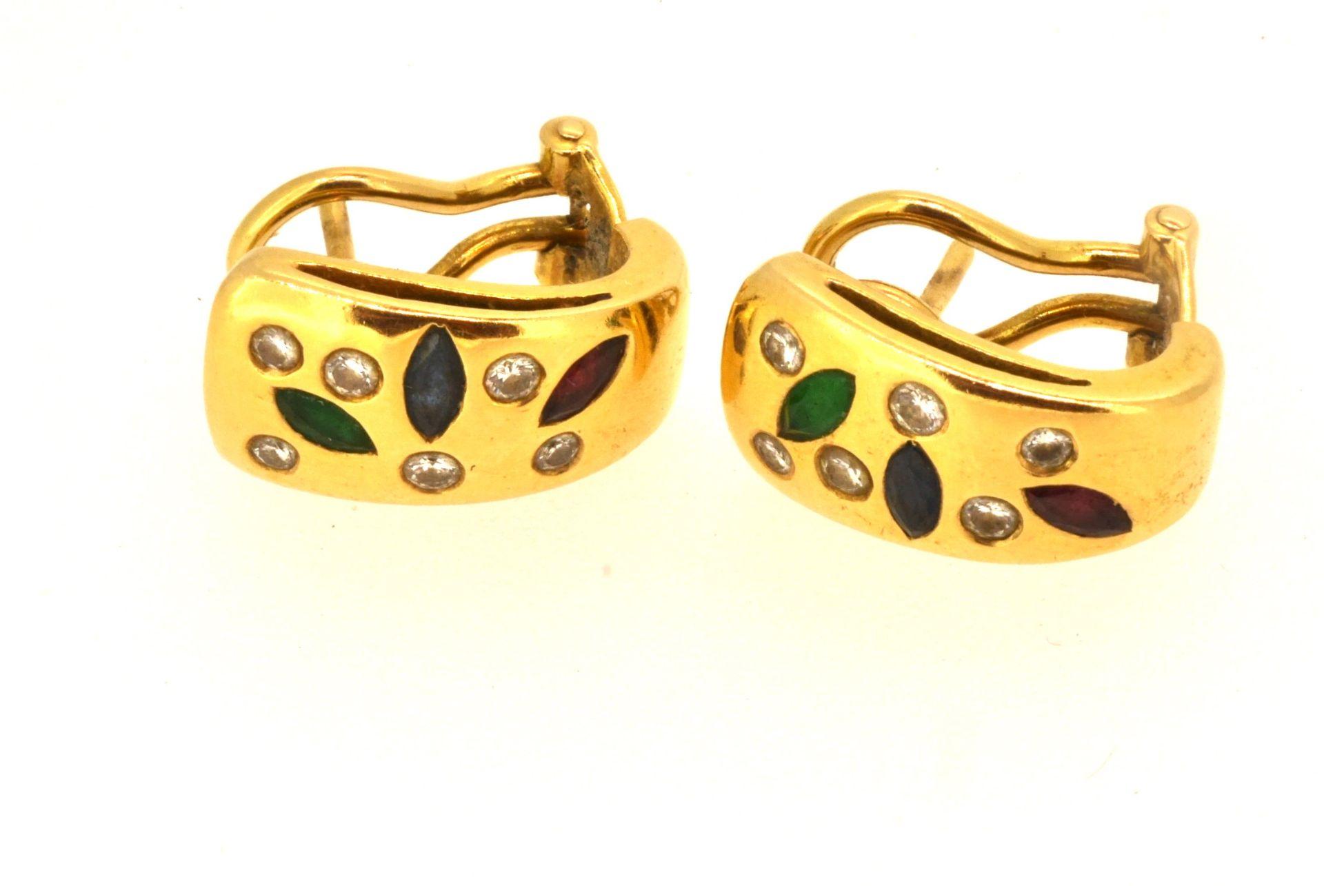 Ohrringe GG 750, Diamanten 0.19 ct, Rubin, Smaragd und Saphir, 8,92 Gramm