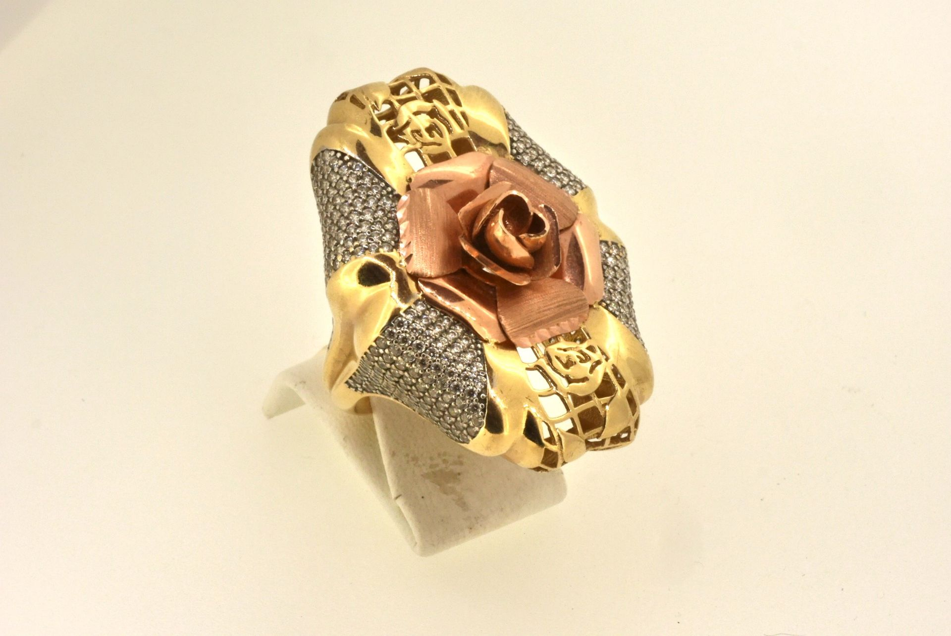 Ring GG 585, Zirkonia, 15,56 Gramm