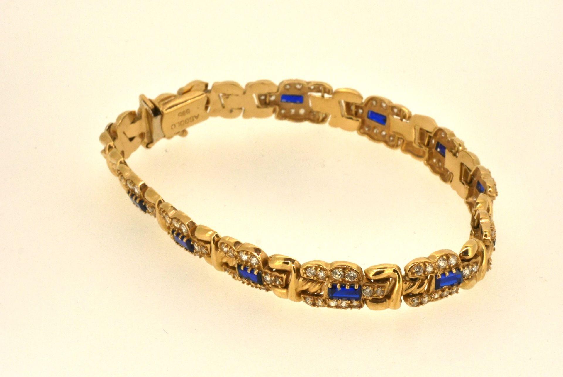 Armband GG 585, Zirkonia, blaue Steine, 16,19 Gramm