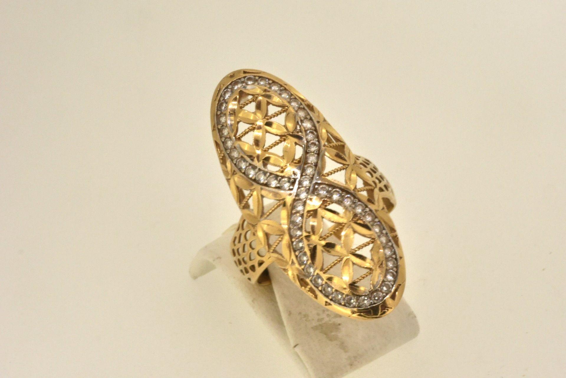 Ring WG/GG 585, Zirkonia, 4,63 Gramm