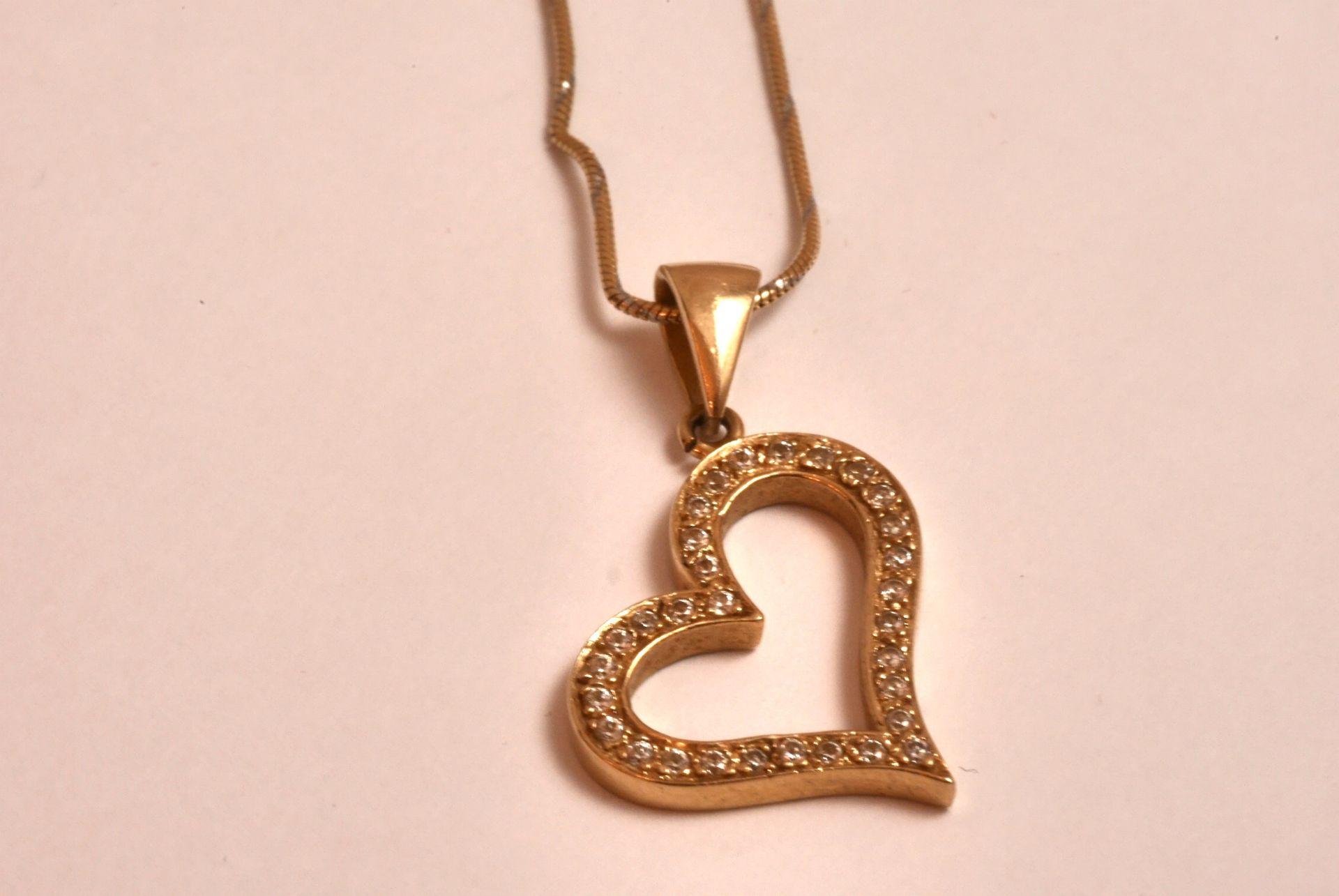 Halskette mit Herzanhänger GG 585, Zirkonia, 5,65 Gramm - Bild 2 aus 4