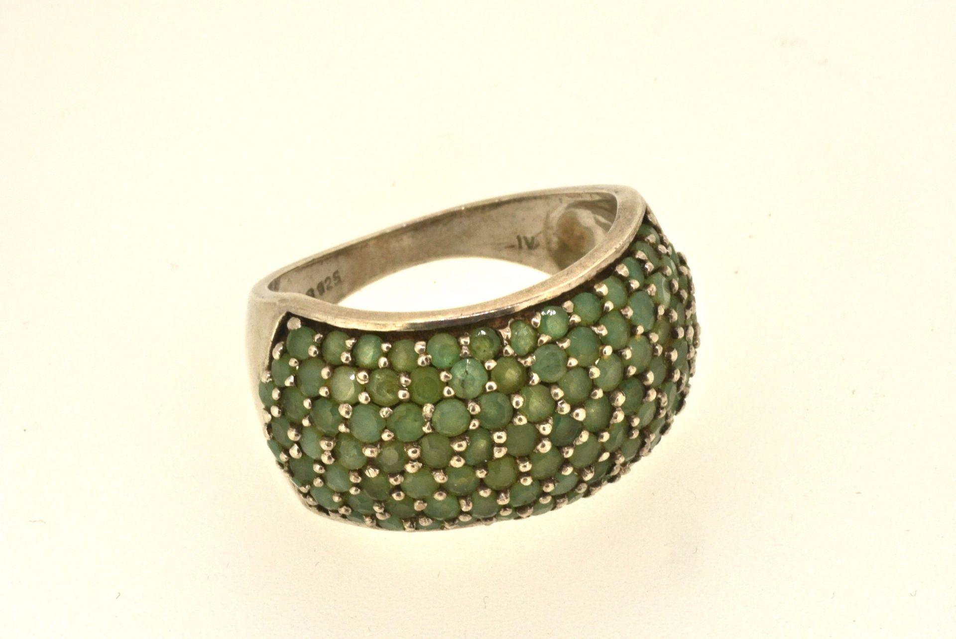 Ring Silber 925 mit grünen Steinen, 7,87 Gramm