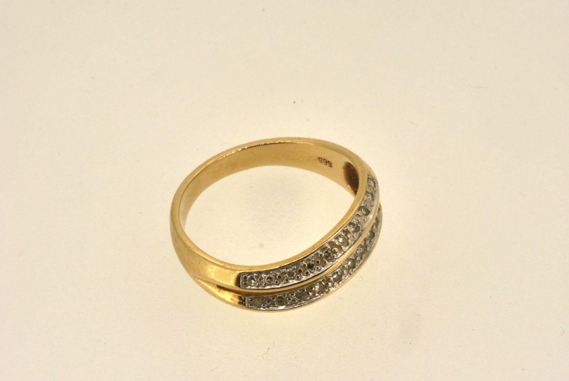 Ring GG 585, Diamanten, 3,87 Gramm