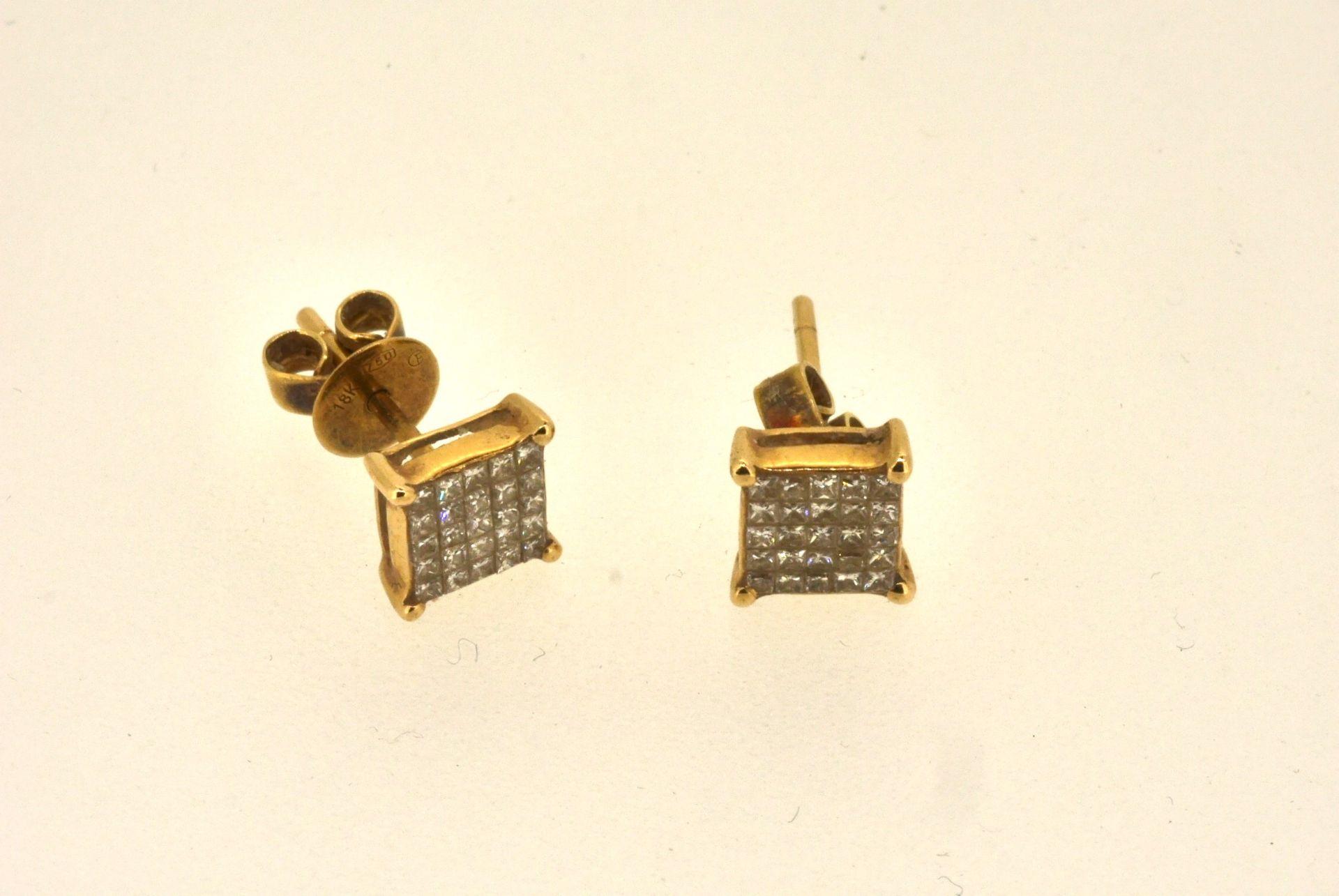 Ohrstecker GG 750, 2x25 Diamanten Prinzess-Cut, ca. 0.50 ct, 1,93 Gramm