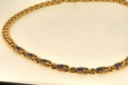 Collier GG 585; Zirkonia, blaue Steine, 42 cm, 29,51 Gramm