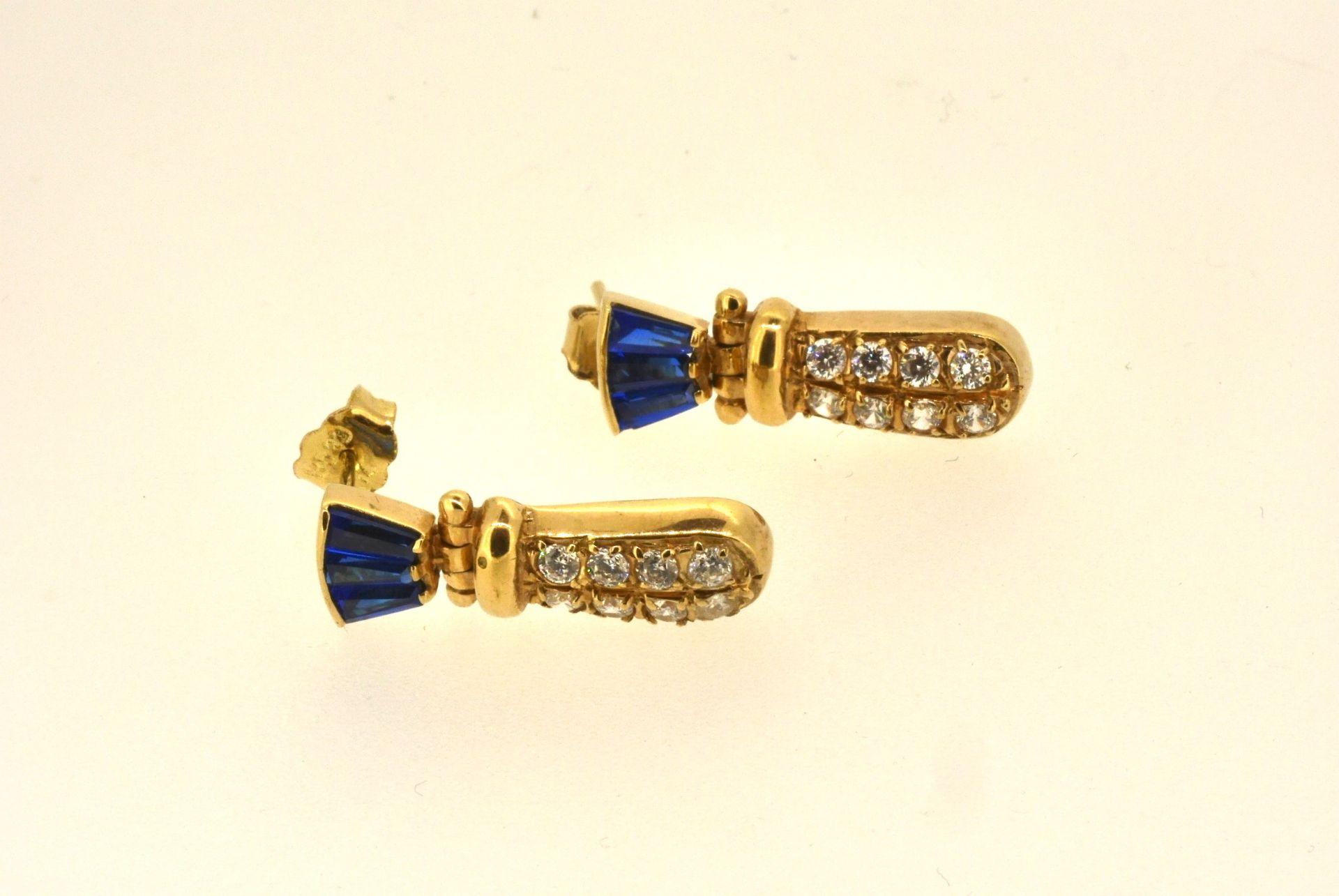 Ohrhänger GG 585, Zirkonia, blaue Steine, 5,95 Gramm
